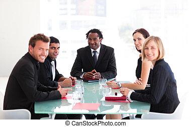 vergadering, besprekende zaak, mensen