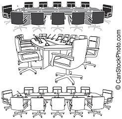 vergadering, conferentie tafel