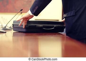 vergadering, detail, zakelijk