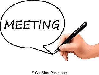 vergadering, geschreven, 3d, woord, hand