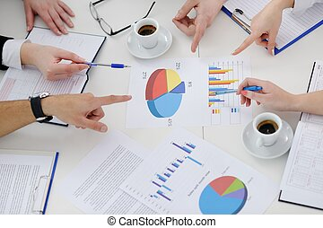 vergadering, groep, jonge, zakenlui