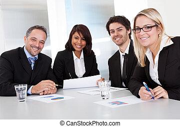 vergadering, groep, zakenlui