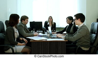 vergadering, in, de werkkring