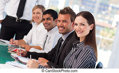 vergadering, jonge, zakenlui