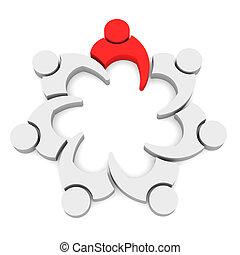 vergadering, leider, 7, team