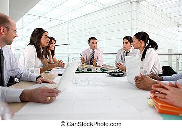vergadering, plank