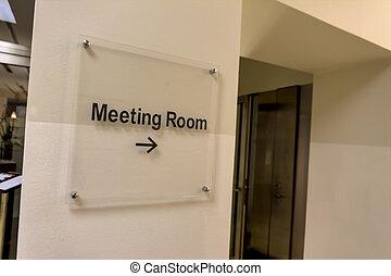 vergadering, schild, kamer