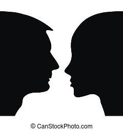 vergadering, silhouette, mensen