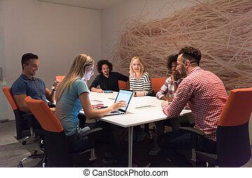 vergadering, start, multiethnic, handel team