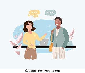 vergadering, vrienden, multiethnic, twee, jonge