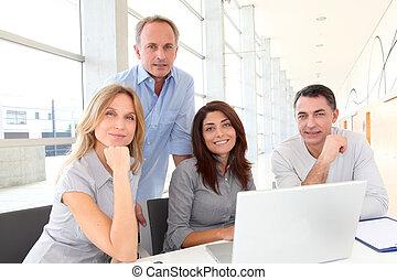 vergadering, werken, groep, zakenlui