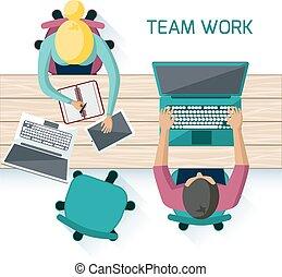 vergadering, werkmannen , brainstorming, kantoor