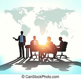 vergadering, zakelijk, worldmap