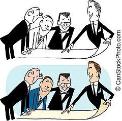 vergadering, zakenlieden, hebben