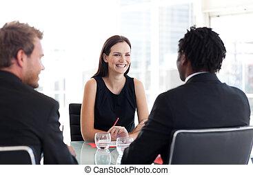 vergadering, zakenlui