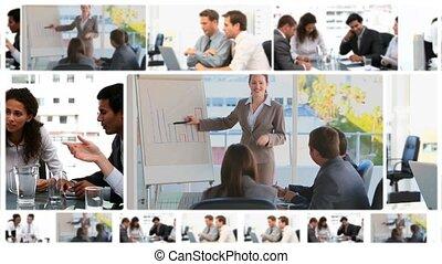 vergaderingen, zakelijk, montage