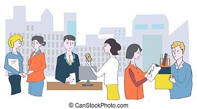 vergaderingen, zakenkantoor, gesprekken, -, samenwerking, personeel