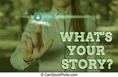 vergangenheit, storyquestion., schreibende, was, weise, ausstellung, dein, showcasing, begrifflich, leben, demonstrieren, hand, foto, über, fragen, events., geschaeftswelt