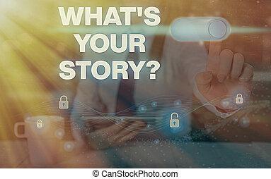 vergangenheit, storyquestion., schreibende, was, weise, ausstellung, dein, text, leben, begrifflich, demonstrieren, hand, foto, über, fragen, events., geschaeftswelt