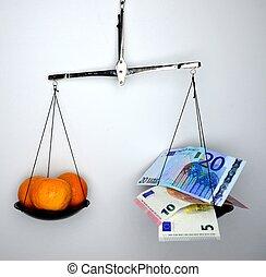 vergelijking, voedingsmiddelen, geld, veel, dan, belangrijk,...