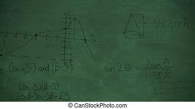 vergelijkingen, wiskundig, chalkboard