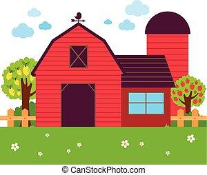 verger, barrière, arbres., illustration, vecteur, ferme, grange, paysage