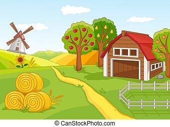 verger fruit, paysage, coloré, ferme
