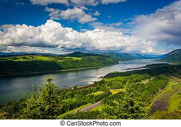 vergezicht, columbia, woning, oregon., rivier bergkloof, aanzicht