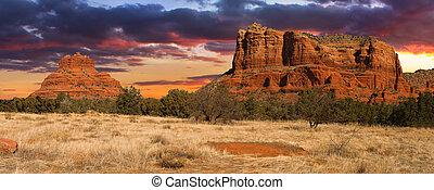 vergezicht, sedona, ondergaande zon , arizona