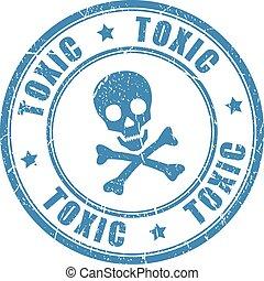 vergiftig, postzegel, gevaar