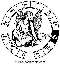 vergine, zodiaco, nero, bianco
