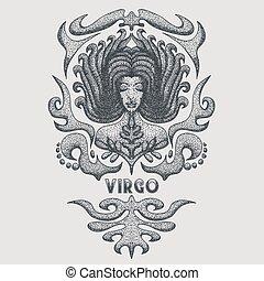 vergine, zodiaco, vettore, illustrazione