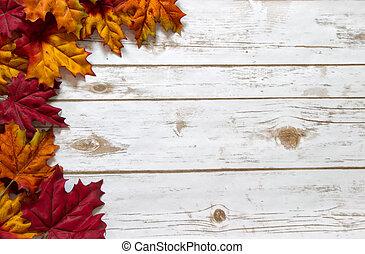 vergoelijkt, bladeren, herfst, hout, plank, herfst, plank