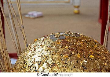 vergoldet, gold, begraben, kerzenleuchter