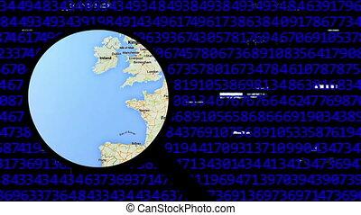 vergrößerungsglas, auf, europa, landkarte