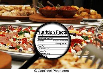 vergrößerungsglas, auf, nahrung- tatsachen