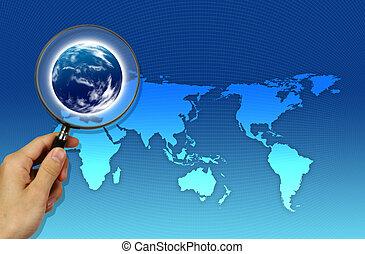 vergrößerungsglas, fokussiert, landkarte