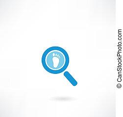 vergrößerungsglas, mit, a, menschliche , fußabdruck