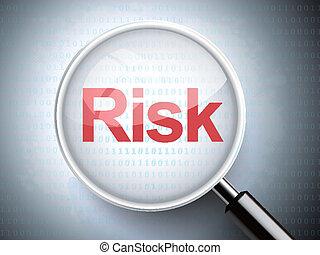 vergrößerungsglas, mit, wort, risiko