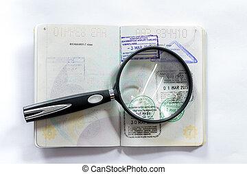 vergrößerungsglas, und, dichtungen, von, verschieden, länder, auf, der, passport.