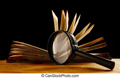 vergrootglas, en, een, boek