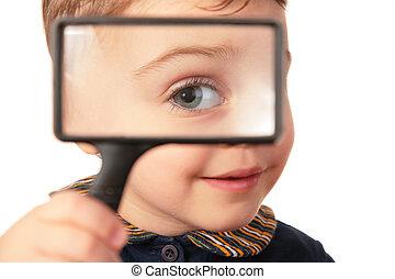 vergrootglas, het glimlachen, door, blik, kind