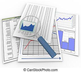 vergrootglas, op, financieel, documenten