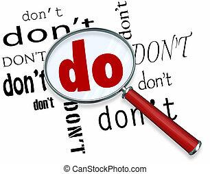 vergrootglas, op, woord, doen, vs., niet, toegewijd, verplichting