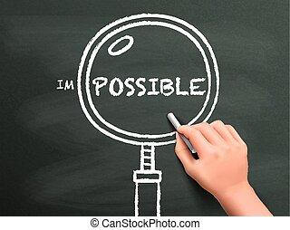 vergroten, vinden, mogelijkheid, hand, getrokken, glas, uit