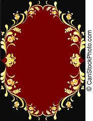 verguld, frame, ornament, floral