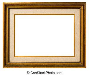 verguld, hout, oud, frame.