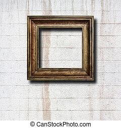 verguld, houten, lijstjes, voor, afbeeldingen, op, oud,...