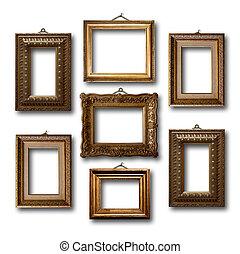 verguld, houten, lijstjes, voor, afbeeldingen, op wit,...