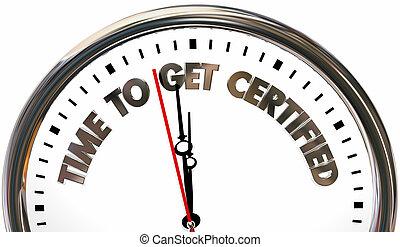 vergunning, klok, krijgen, illustratie, tijd, certificaat, verklaard, 3d